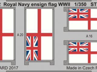 Royal Navy ensign flag WWII STEEL 1/350